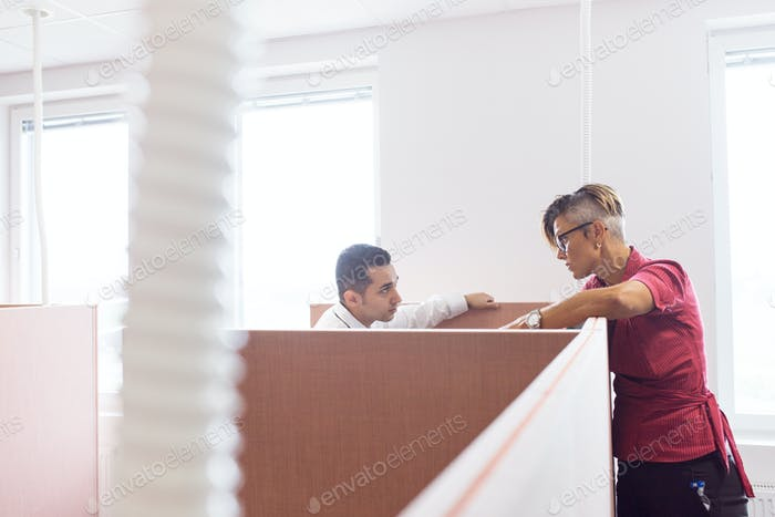 Architects talking in office