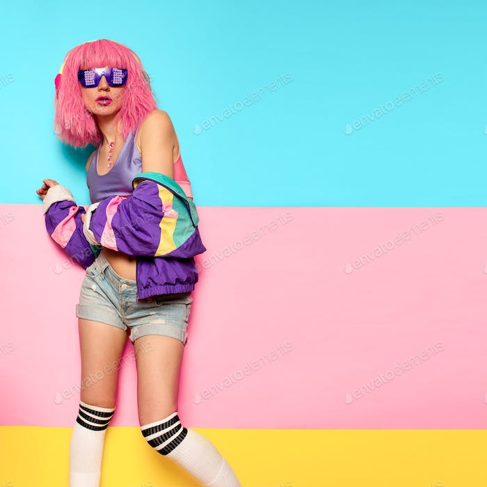 Playful Stylish Girl DJ. Rave, house, digital party Music and fi