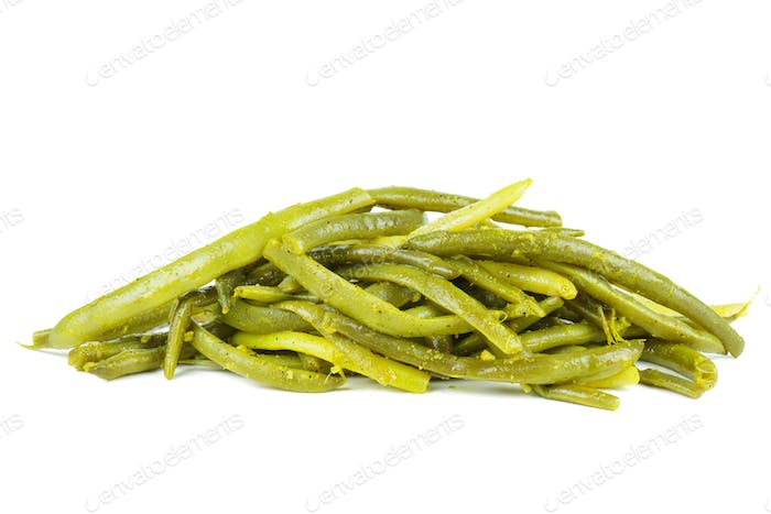 Appetizer: spicy marinated wax beans.