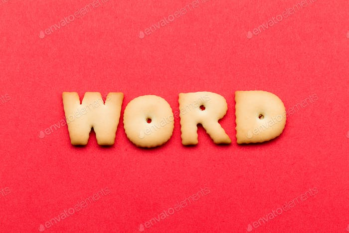 Word biscuit over the red background