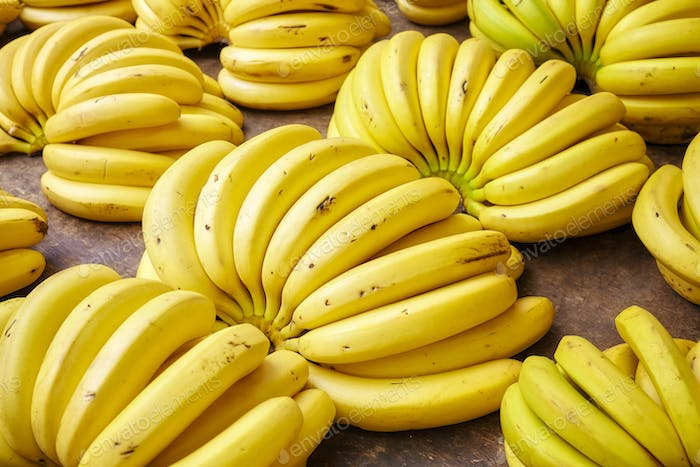 Ripe banana bunches on a local market.