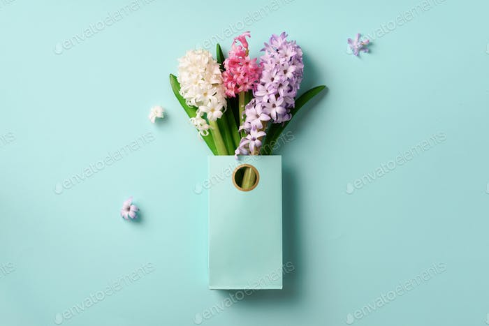 Fresh hyacinth flowers in shopping bag on blue punchy pastel background. Banner with copy space