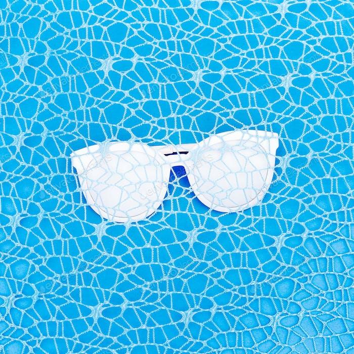 Glasses in blue. Minimal art design