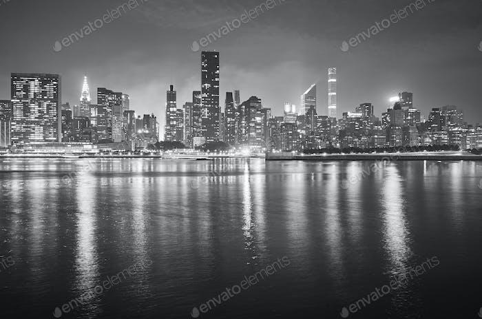 Manhattan at night, New York, USA.