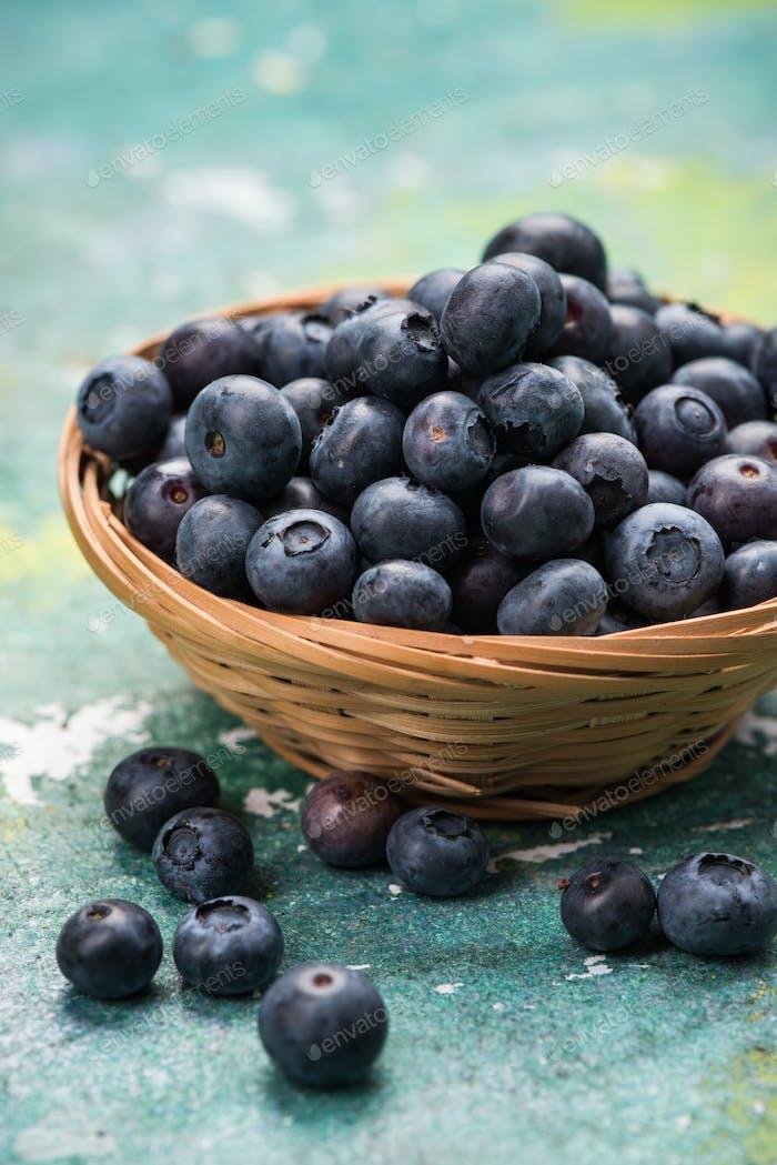 Fresh ripe blueberry in basket