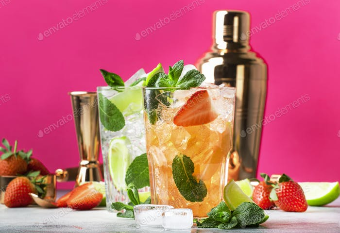 Fresh Mojito cocktail set with lime, mint, strawberry and ice in glass
