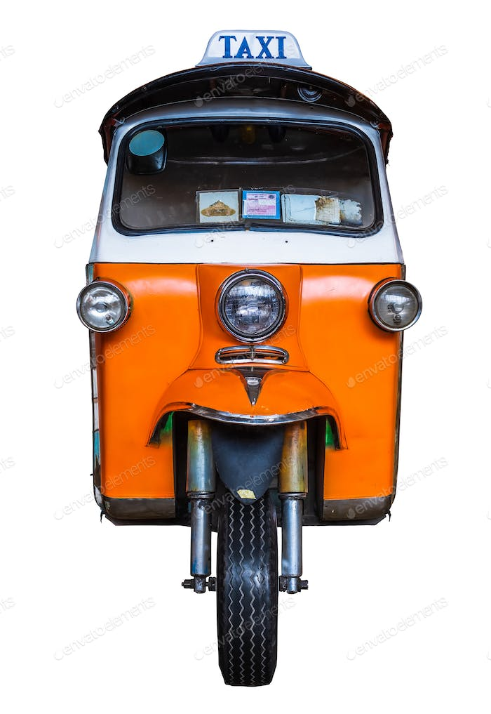 Isolated Grungy Thai Tuk-Tuk Taxi