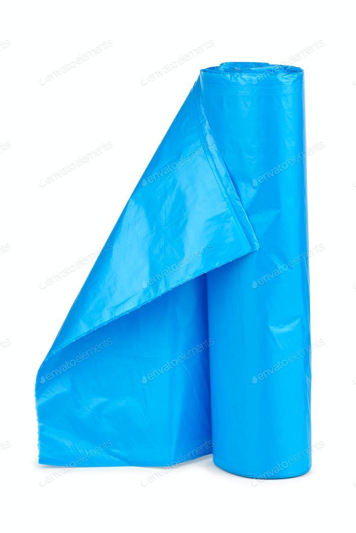 Roll of blue plastic garbage bags