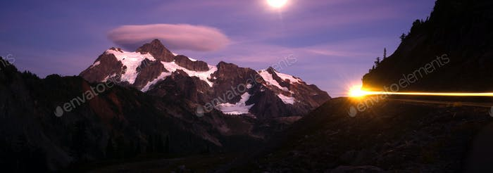 Mount Mt Shuksan Bright Moon Night Auto-Scheinwerfer