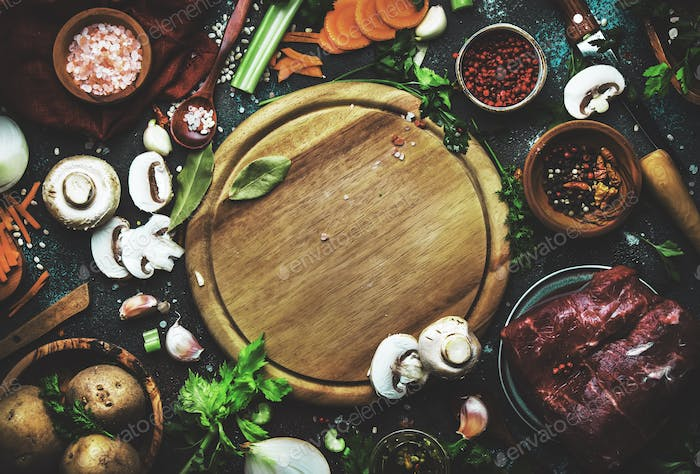 Food cooking background. Fresh organic vegetables, ingredients, spices and meat