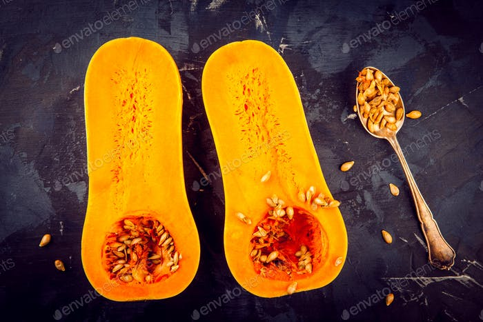 butternut squash with seeds