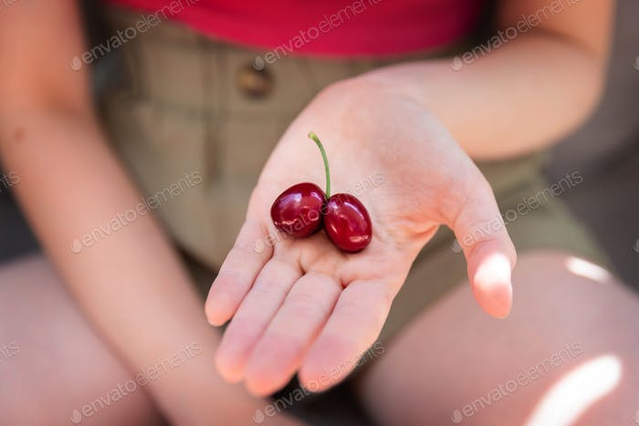 Two joined cherries