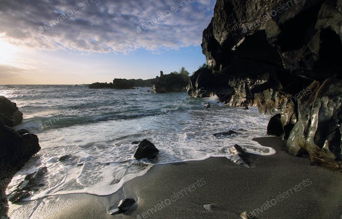 Black sand beach in Waianapanapa State park