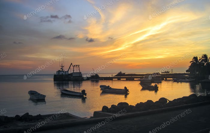 Fishing Boats in a Harbor in Nicaragua at Sunset