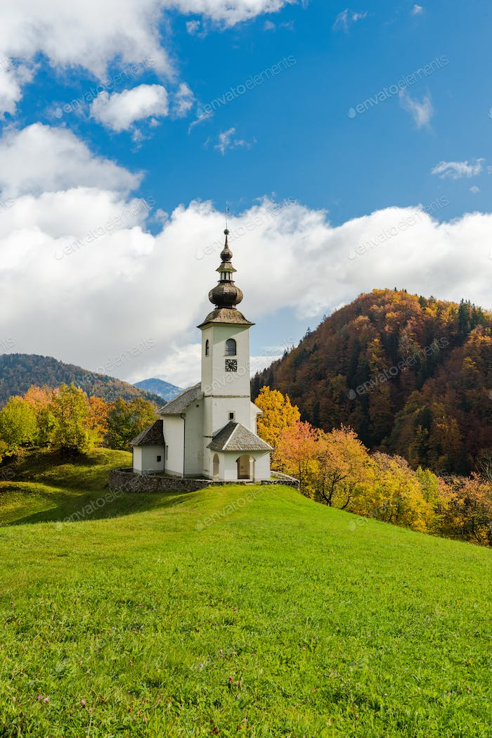 Beautiful rural church or chapel in Slovenia at autumn