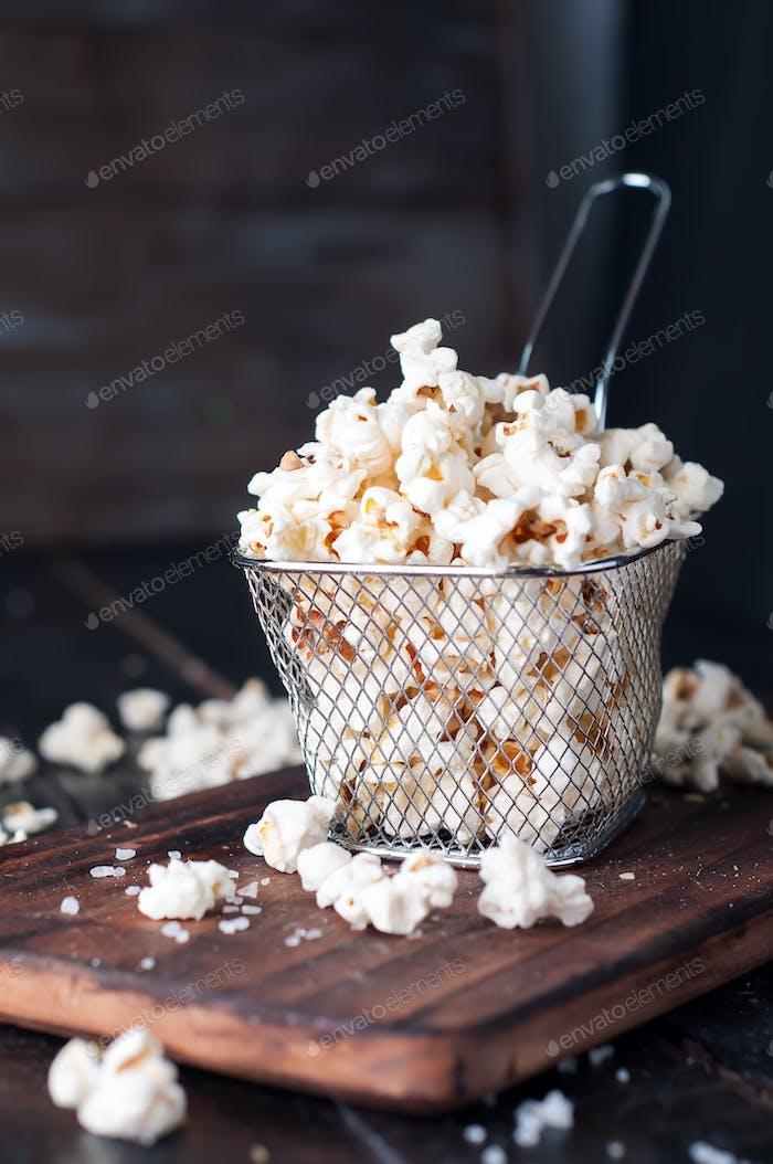 Salt popcorn  in a basket