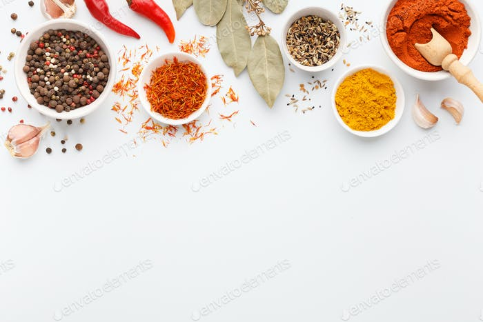 Hot spices concept, mockup, top view