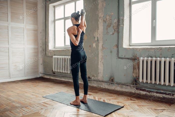 Meditation in yogi studio, full concentration