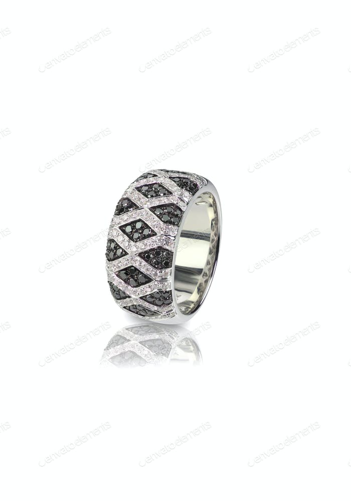 Black Onyx and Diamond Pave Wedding  Anniversary Ring