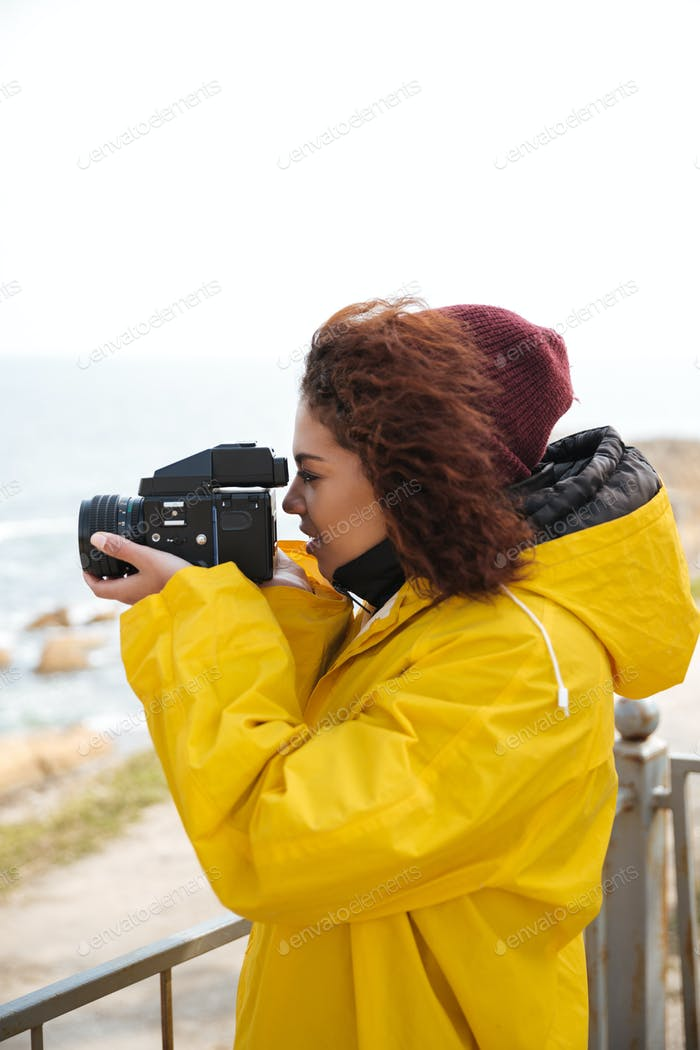 Woman is engaged in photography