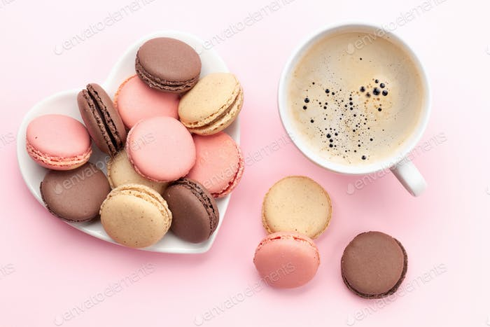 Valentines day with macaroons and coffee