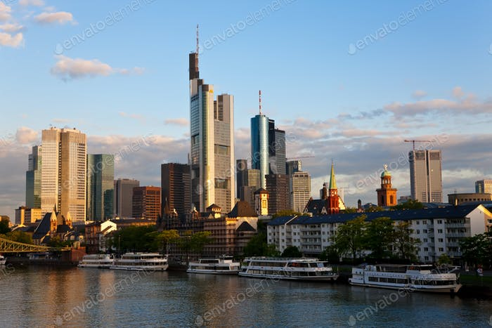 Skyline of Frankfurt and Main River in the early morning,