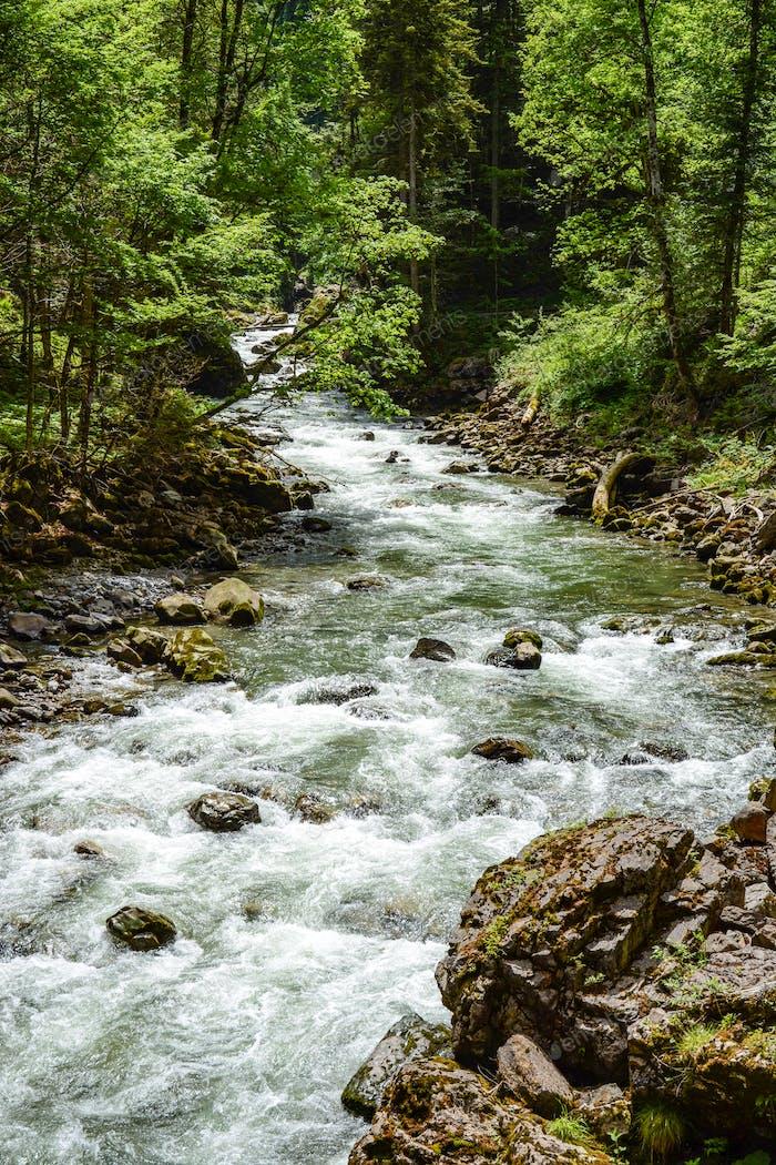 River flowing through the Breitachklamm Gorge