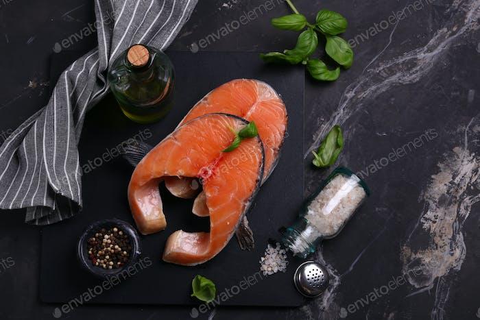 Raw Red Salmon Fish