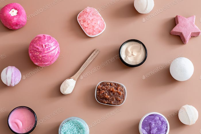 Spa composition with body care items on a colored background