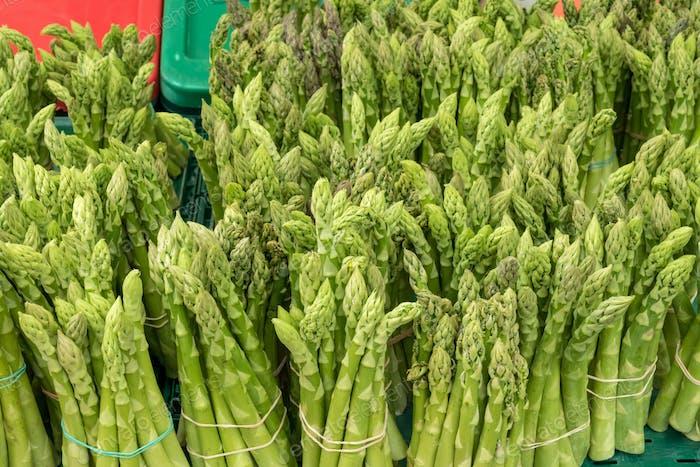 Fresh green asparagus for sale