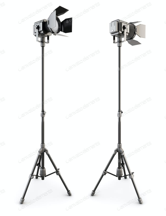 Studio lighting ontripod isolated on white background. 3d illustration.