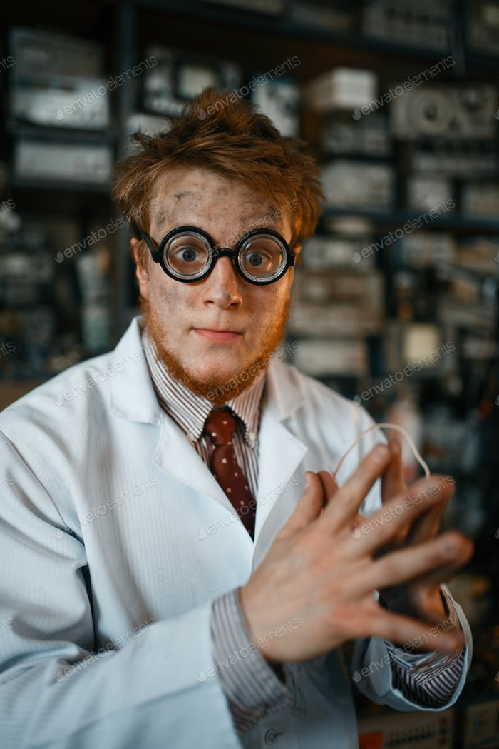 Crazy male scientist working in laboratory