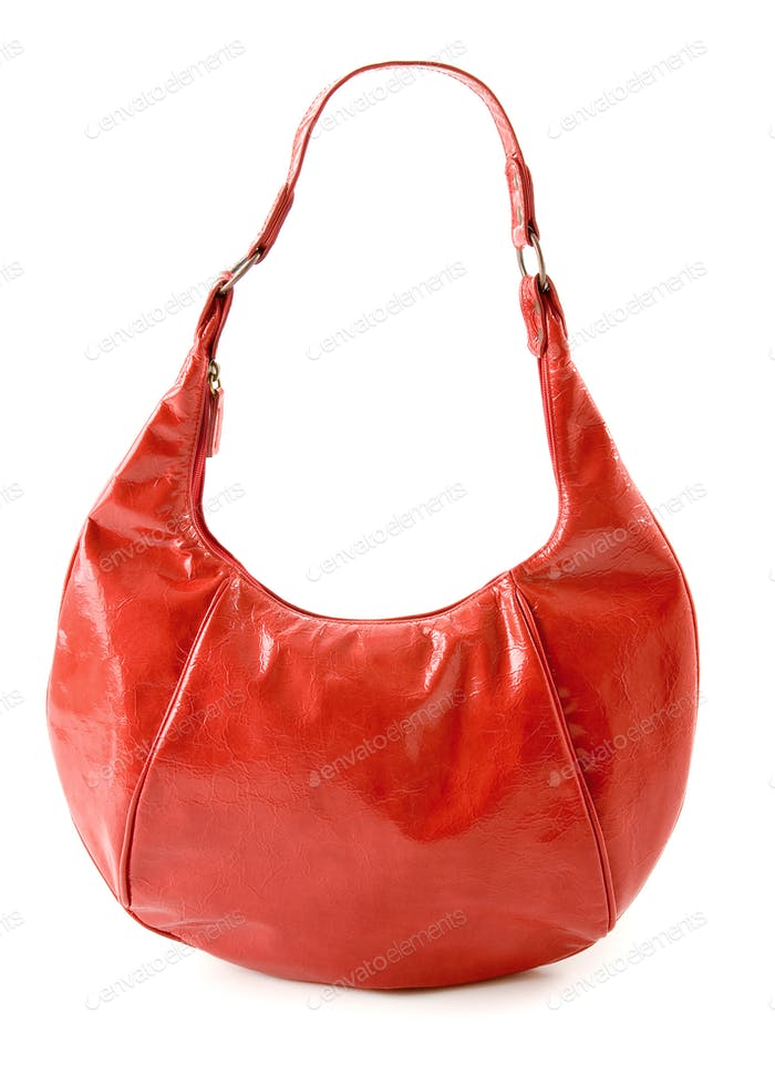 Kidney shaped red leather handbag