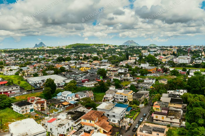 Top view of a town in the jungle of the tropical island of Mauritius, a village on the island of
