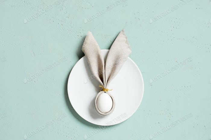 Easter Bunny of Linen Napkin on the Plate