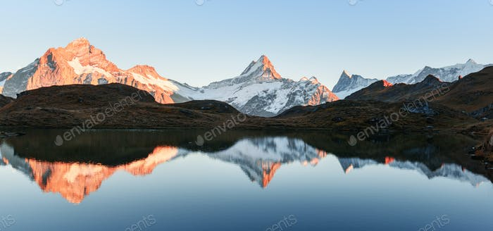 Bachalpsee lake in Swiss Alps mountains
