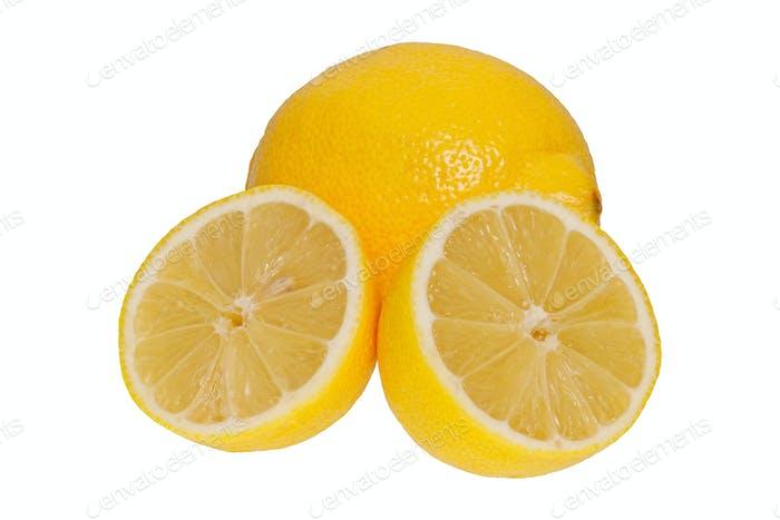 Ripe lemons ona white background