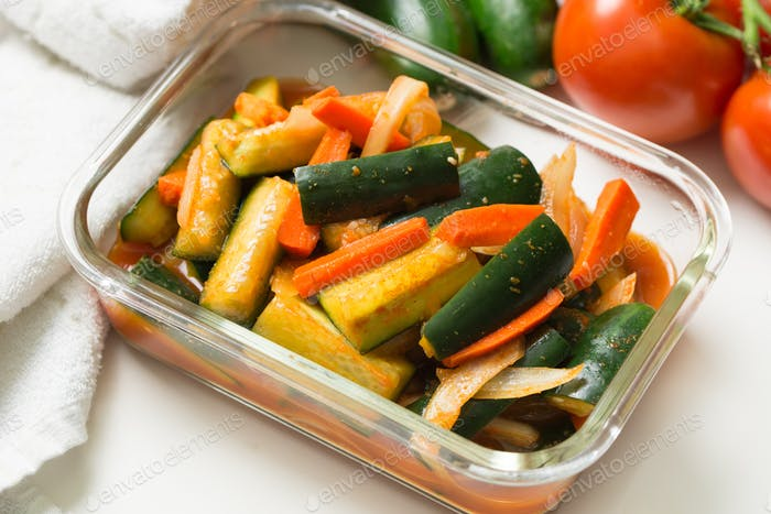 Korea style kimchi pickled cucumbers with carrots salad