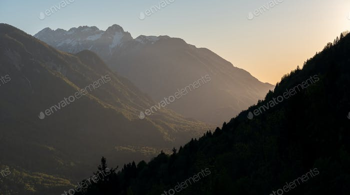 Sunset in the mountains above the valley