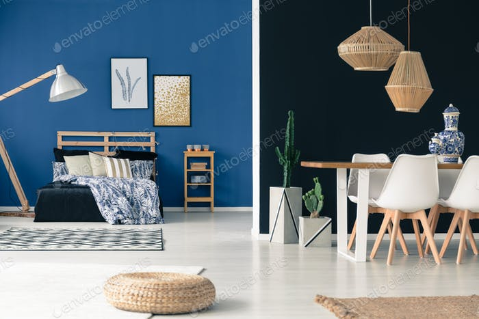 Wooden furniture in blue apartment
