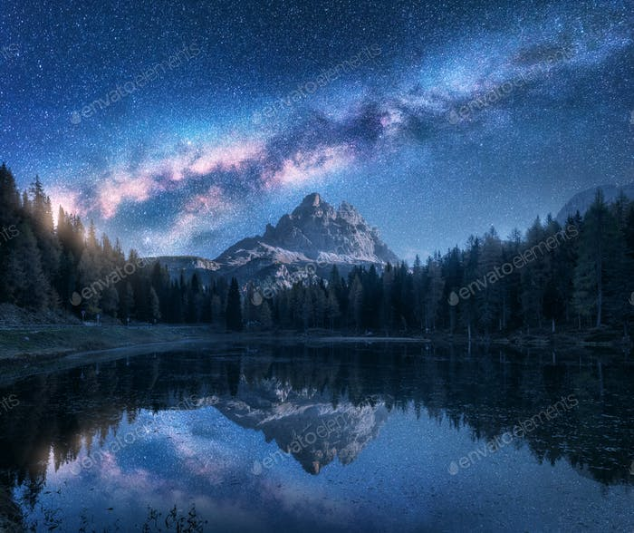 Milky Way over mountains and Antorno lake at night