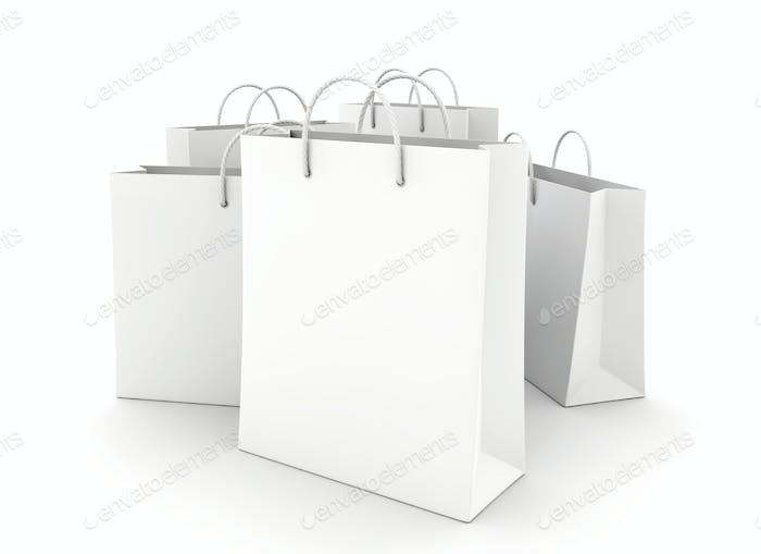 Empty Shopping Bags on the white