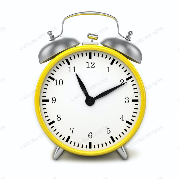 Yellow retro styled classic alarm clock isolated