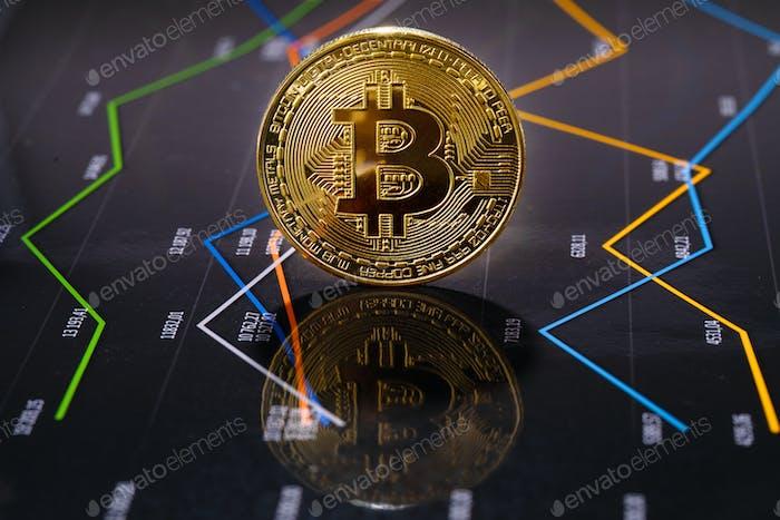 Closeup Of Gold Bitcoin Over Value Graph