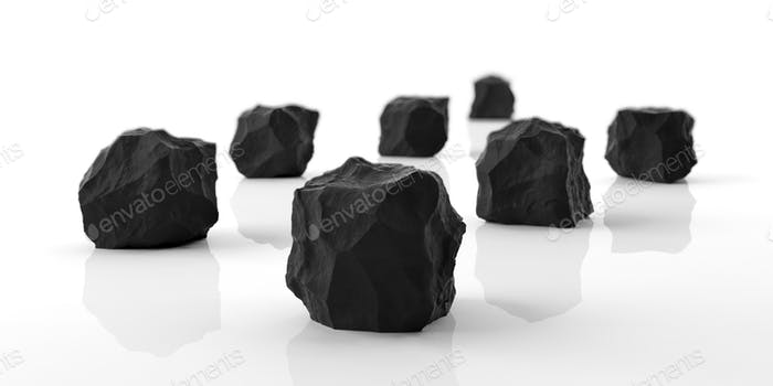 Black marble rocks on white background. 3d illustration