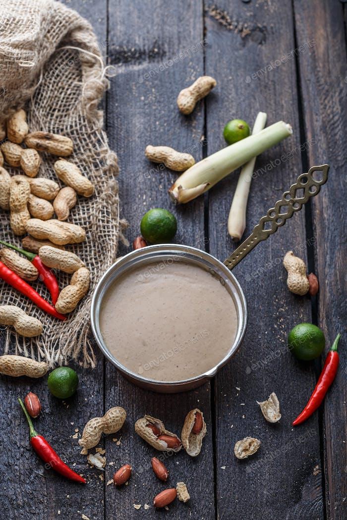 Peanuts, chili, limes, lemongrass for peanut sauce