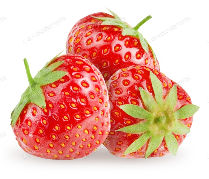 Strawberries on a white background close-up.