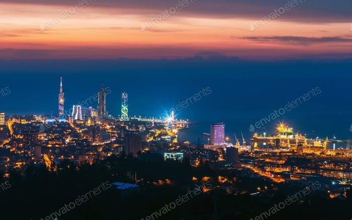 Batumi, Adjara, Georgia. Aerial View Of Urban Cityscape At Sunset. Town At Evening Blue Hour time
