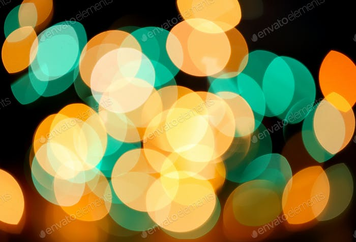 Green and yellow holiday bokeh