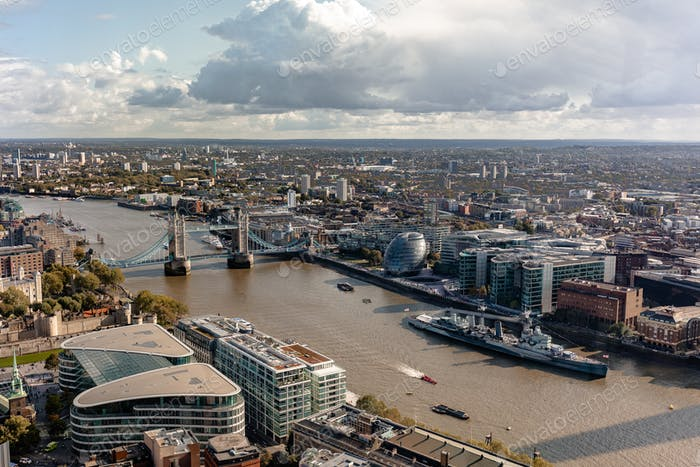 View over the Thames and city of London from the Sky Garden, United Kingdom